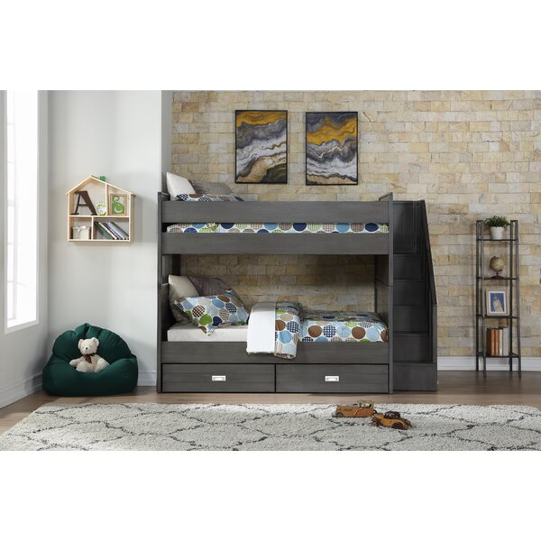 Staggs Full Over Full Bunk Bed with Bookcase and Drawers by Harriet Bee