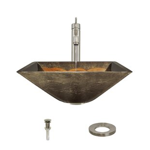 Compare prices Foil Undertone Glass Square Vessel Bathroom Sink with Faucet ByMR Direct