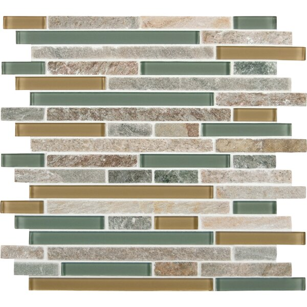 Interlocking Random Sized Fields Glass and Natural Stone Mosaic Tile in Golden by MSI