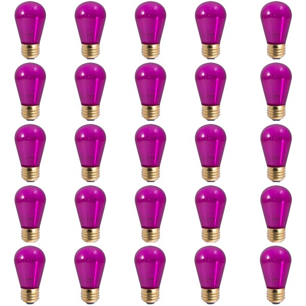 11W E26 Dimmable Incandescent Light Bulb Transparent Purple (Set of 25) by Bulbrite Industries