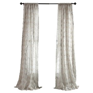 Giselle Damask Semi-Sheer Rod Pocket Single Curtain Panel