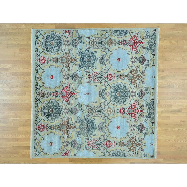 One-of-a-Kind Bearfield Hand-Knotted Blue Wool/Silk Area Rug by Isabelline