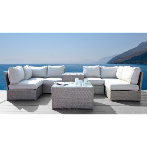 Simmerman Cup Holder 9 Piece Rattan Sectional Seating Group by Brayden Studio