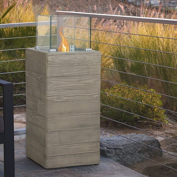 Board Form Concrete Propane Fire Column by Real Flame