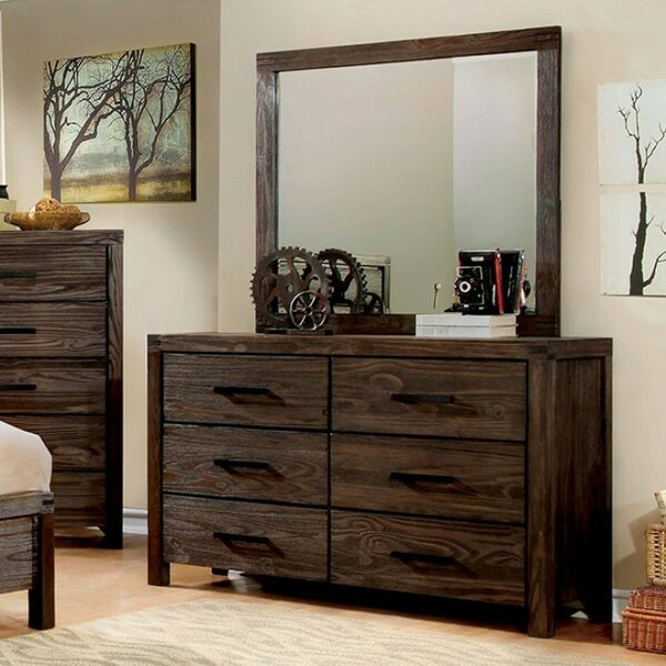 Rowley 6 Drawer Double Dresser with Mirror by Loon Peak