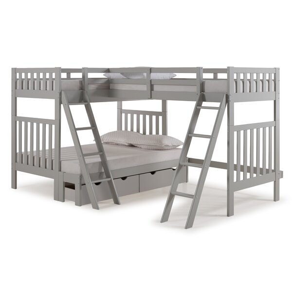 Crescent Twin Over Full Triple Bed with Drawers by Harriet Bee