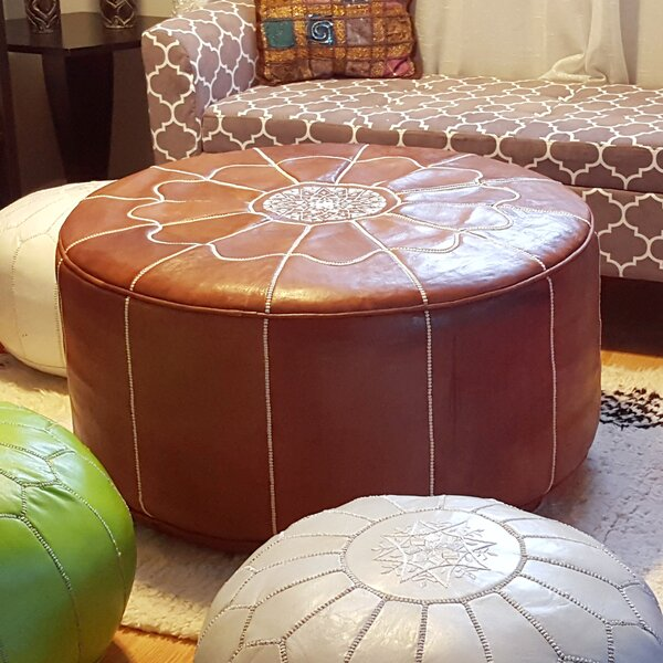 Rummel Giant Moroccan Leather Pouf By Bungalow Rose