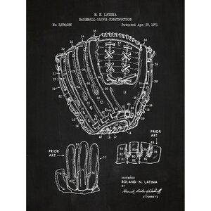 Sporting Goods 'Baseball Glove Construction' Silk Screen Print Graphic Art in Chalkboard/White Ink by Inked and Screened