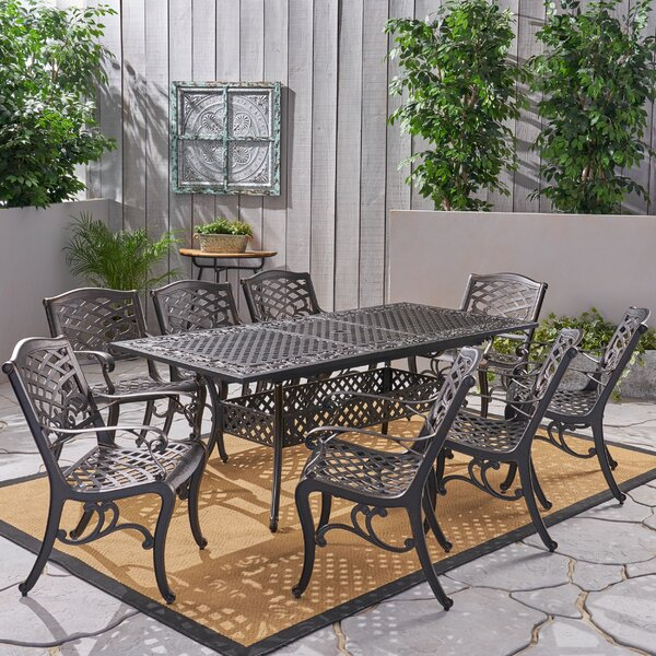 Gish Patio 9 Piece Dining Set by Fleur De Lis Living