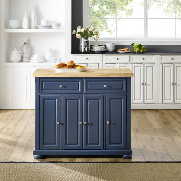 Bingaman Kitchen Island Solid Wood by Canora Grey