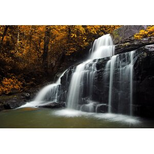 Natures Woods Autumn Waterfall Scene Photographic Print on Canvas by Northlight Seasonal