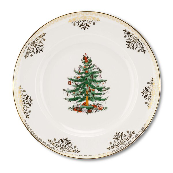 Christmas Tree Gold Dinner Plate (Set of 4) by Spo
