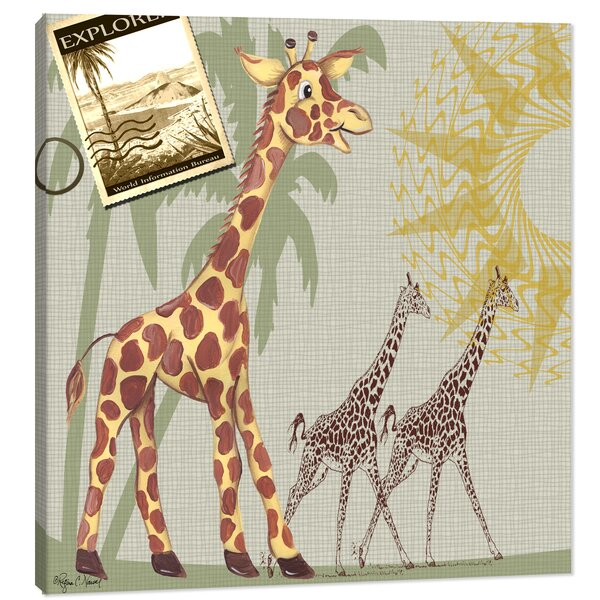 Jungle Giraffe Safari Canvas Art by Doodlefish