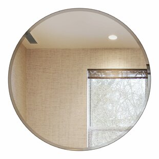 Fab Glass and Mirror Round Beveled Polished Frameless Wall Mirror