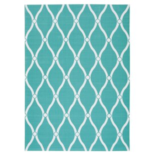 Reviews Astrid Aqua Indoor/Outdoor Area Rug By Highland Dunes