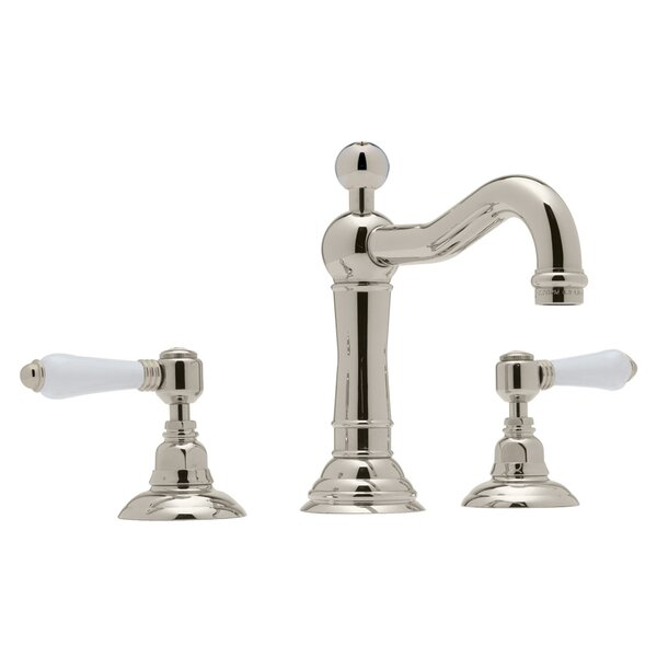 ROHL® Acqui® Column Spout Widespread Lavatory Faucet With White Porcelain Lever Handles By Rohl