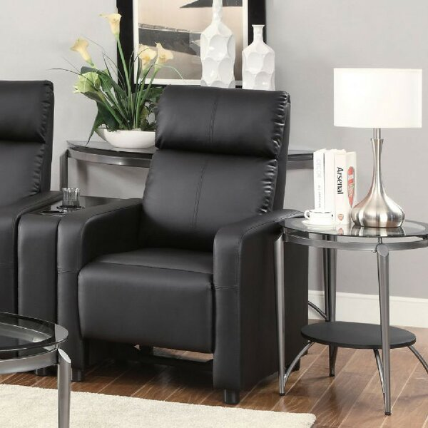 Schaller Manual Push Back Recliner Leather  Home Theater Individual Seat By Latitude Run