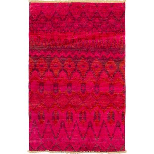 Find One-of-a-Kind Dominquez Hand-Knotted Wool Light Red Area Rug By Isabelline