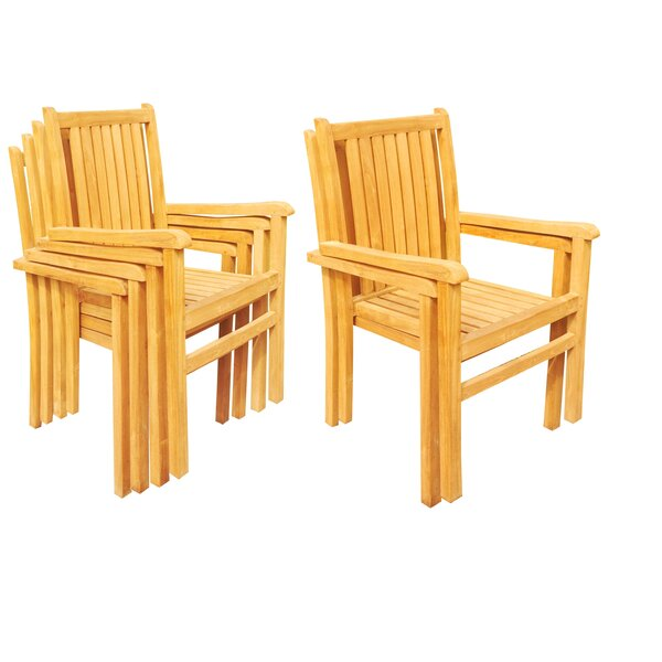 Doubleday Stacking Teak Patio Dining Chair (Set of 6) by Rosecliff Heights