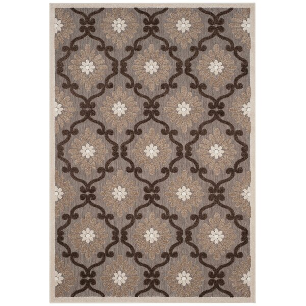 Bryan Light Brown/Brown Indoor/Outdoor Area Rug by Charlton Home