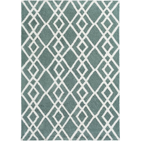 Bradt Hand-Tufted Teal Area Rug by Wrought Studio
