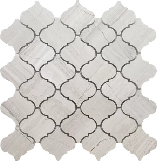 Casablanca Oyster Wall Mosaic Polished 12 x 12 Natural Stone Mosaic Tile in White/Gray by Seven Seas