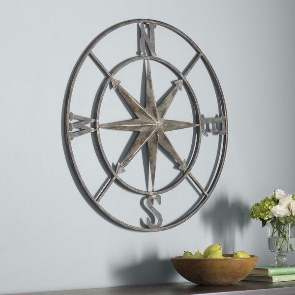 Round Compass Wall Décor by Three Posts