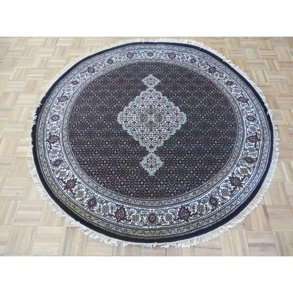One-of-a-Kind Raiden Tabriz Round Hand-Knotted Black Area Rug by Astoria Grand