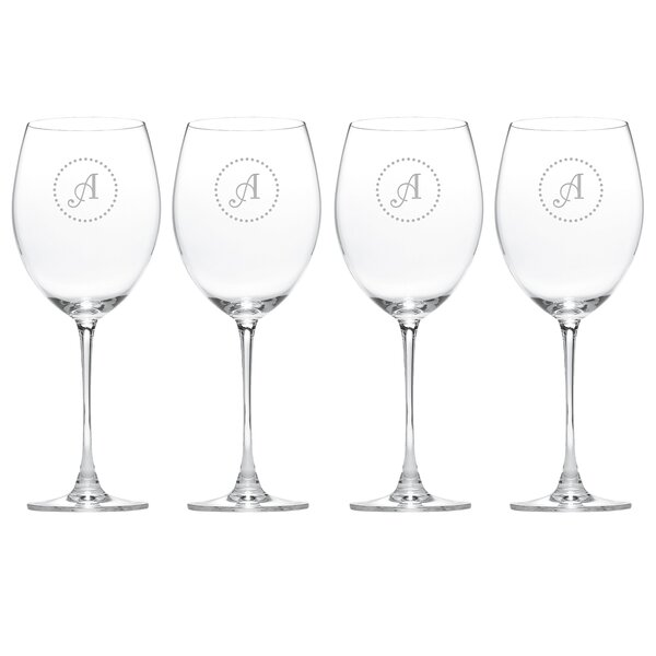 Navy Dots Tuscany Monogram Burgundy 28 Oz. Red Wine Glass (Set of 4) by Lenox