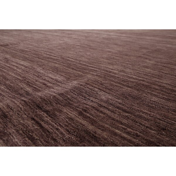 One-of-a-Kind Hailes Hand-Knotted Wool Tone on Tone Aubergine Area Rug by Canora Grey