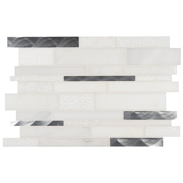 Moderno Blanco Interlocking Stone/Metal Mosaic Tile in White by MSI