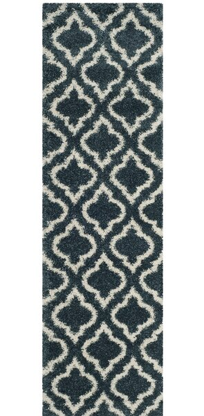 Melvin Shag Blue/Beige Area Rug by Charlton Home