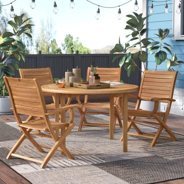 Elsmere 5 Piece Teak Dining Set by Beachcrest Home