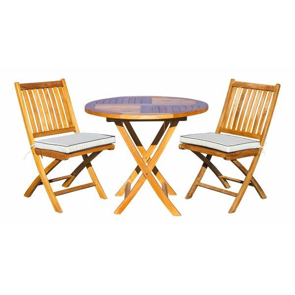 Witte 3 Piece Teak Bistro Set with Sunbrella Cushions Bayou Breeze W000635207