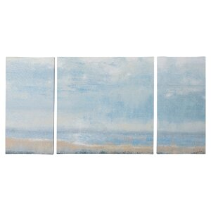 Shoreline View Textured 3 Piece Painting Print on Wrapped Canvas Set by Beachcrest Home