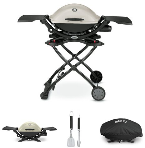 Q® Series 2200 Propane Portable Gas Grill Tailgate Starter Kit by Weber