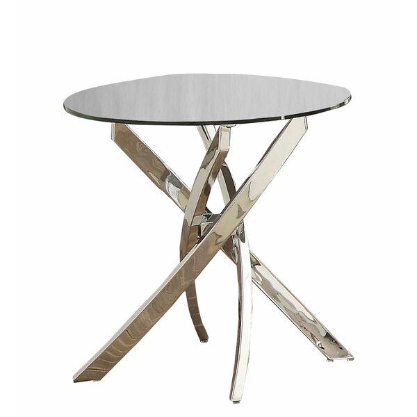 Bakari Glass Top Pedestal End Table By Orren Ellis
