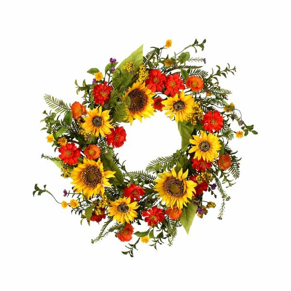 Sunflower and Poppy DLX 24 Wreath by August Grove