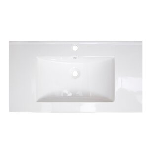 Compare prices Flair Ceramic Rectangular Drop-In Bathroom Sink with Overflow By American Imaginations