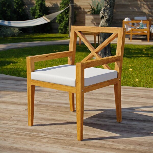 Dowell Premium Grade A Teak Patio Dining Chair with Cushion by Breakwater Bay