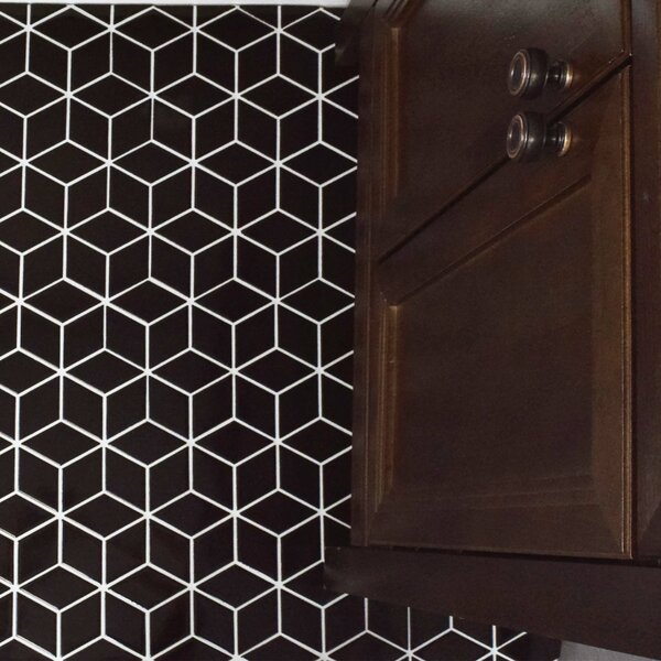 Retro Rhombus 1.88 x 3.18 Porcelain Mosaic Tile in Glossy Black by EliteTile