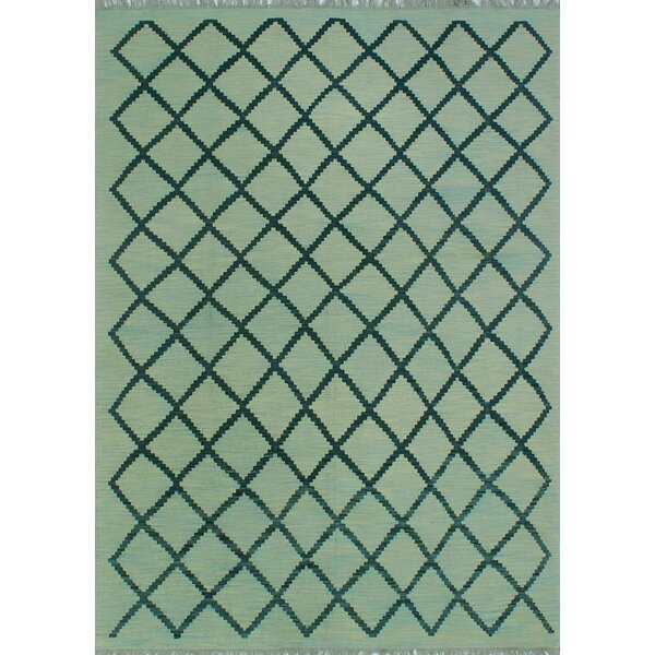 Tara Hand-Knotted Wool Teal Area Rug by Wrought Studio