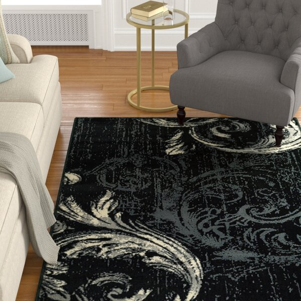 Rueben Anthracite Black Area Rug by Astoria Grand
