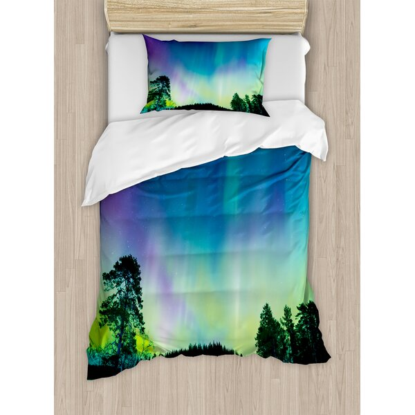 Northern Lights Sky Over Lake Surrounded Forest Woods Hemisphere Print Duvet Set by East Urban Home