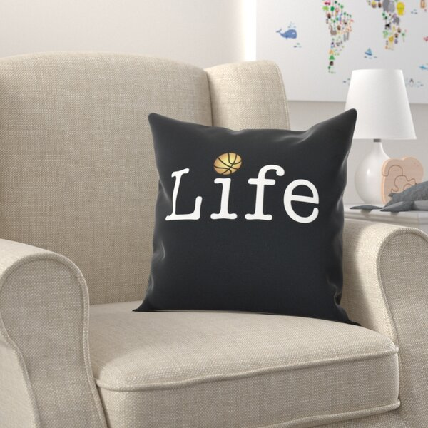 Bauer Life and Ball Word Throw Pillow by Zoomie Kids