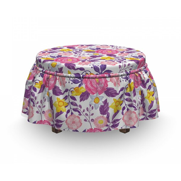Delicate Blossoms Ottoman Slipcover (Set Of 2) By East Urban Home