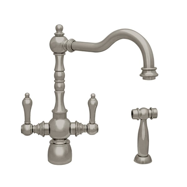 Englishhaus Double Handle Deck Mounted Standard Kitchen Faucet with Side Spray by Whitehaus Collection