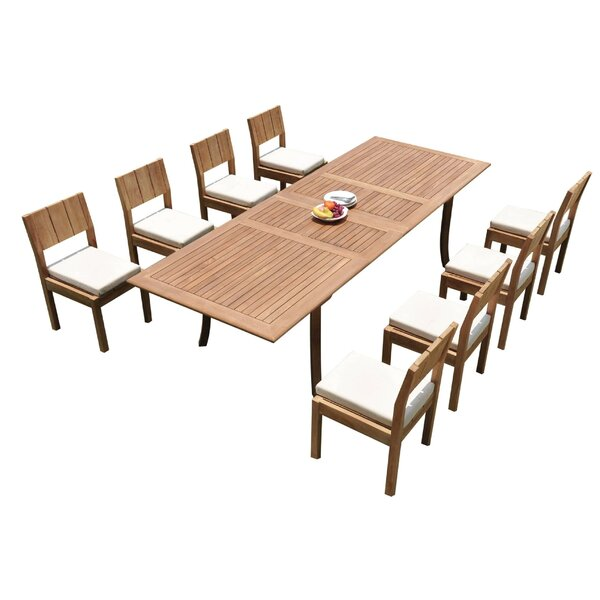 Karson 9 Piece Teak Dining Set by Rosecliff Heights