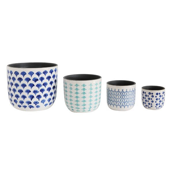 Hatley Hand-Painted 4-Piece Stoneware Pot Planter Set by Highland Dunes