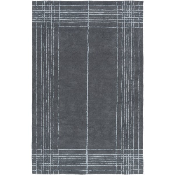 Penthouse Border Hand-Tufted Slate Area Rug by Surya